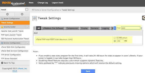 tweak-post-size-cpanel