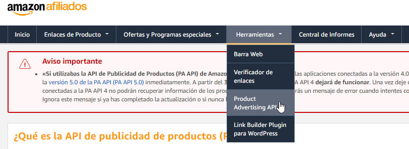 Amazon Afiliados Product Advertising API