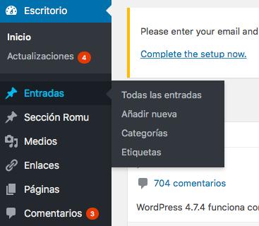 barra menu wordpress