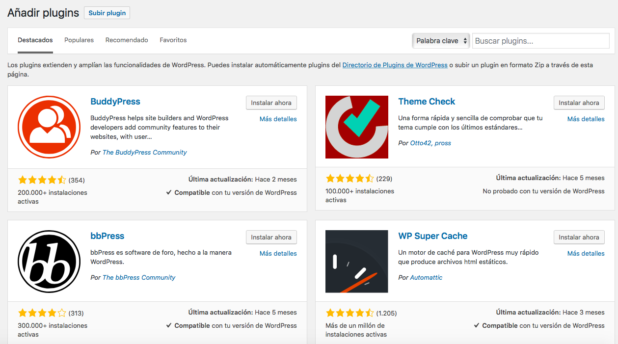 buscar plugins wordpress