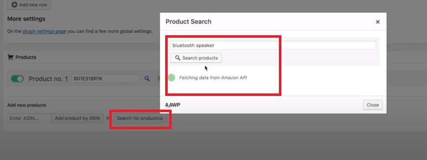 buscar producto amazon en tablas comparativas AAWP