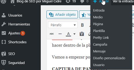 crear entradas y paginas en wordpress