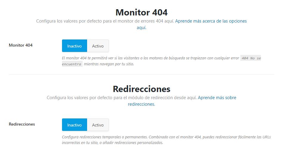 errores 404 y redirecciones rank math