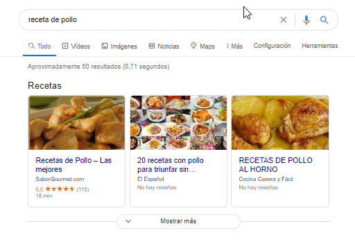 featured snippet de recetas