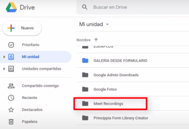 donde se guarda el video grabado de google meet