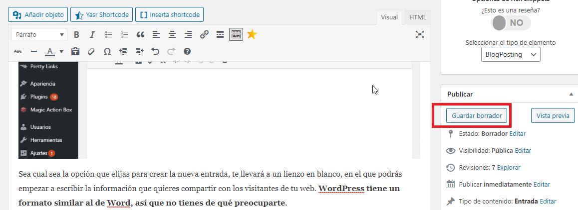 guardar borrador wordpress