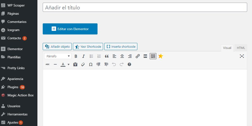 nueva entrada wordpress