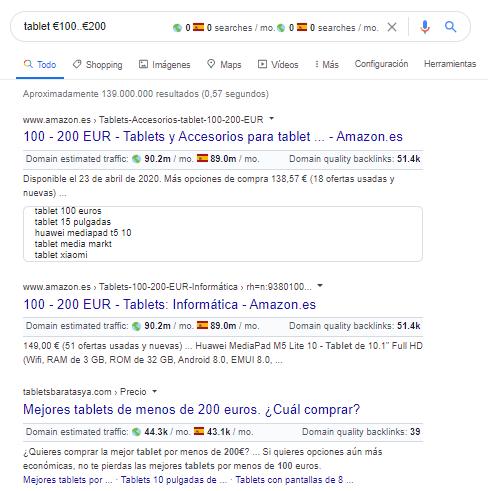 operador google coste producto
