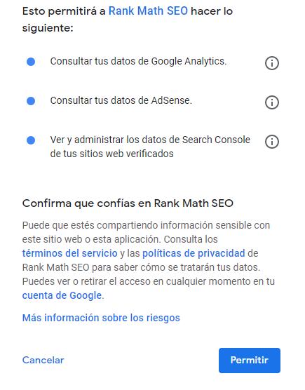 permitir a rank math search console