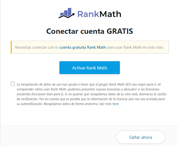 rank math conectar cuenta
