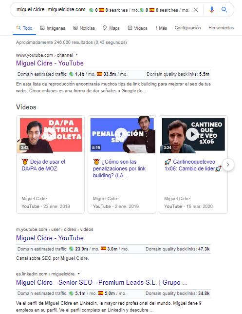 resultados de busqueda con footprints de google